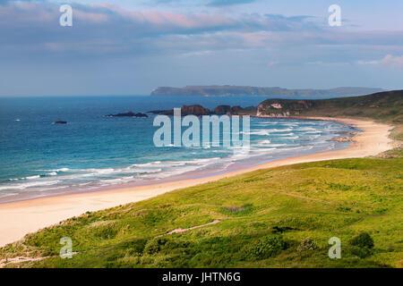 panorama of White Park Bay, Ballycastle, County Antrim, Northern Ireland - Stock Image