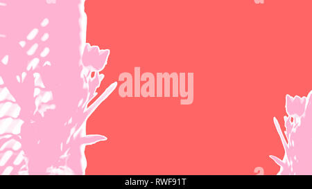 Ripped paper pink tulips on a background of living coral, the Pantone color colour of the year for 2019 spring, Easter, Mothers Day background - Stock Image