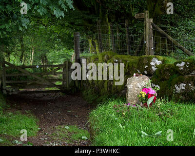 Kay's Grave (or Kitty Jay's Grave), Dartmoor National Park, Devon, is said to be the last resting place of an 18th century suicide. - Stock Image