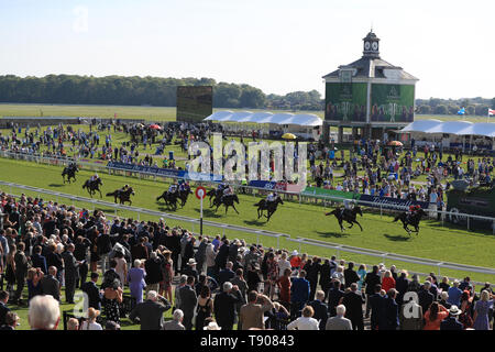 Bomb Proof ridden by Frankie Dettori wins the British Stallion Studs EBF Novice Stakes during day one of the Dante Festival at York Racecourse. - Stock Image