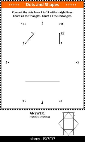 IQ and spatial skills math activity with dot to dot drawing and basic shapes counting (triangles and rectangles). Answer included. - Stock Image