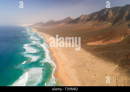Cofete was voted as one of the most beautiful beaches in Europe and it is a must see when you come to Fuerteventura. - Stock Image