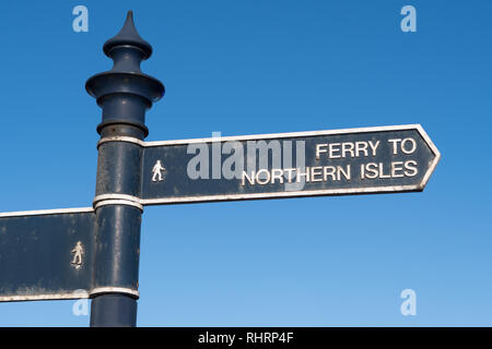 Ferry to Northern Isles signpost, Aberdeen, Scotland, UK - Stock Image