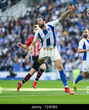 Shane Duffy of Brighton during the Premier League match between Brighton & Hove Albion and Southampton at The American Express Community Stadium . 30 March 2019 Editorial use only. No merchandising. For Football images FA and Premier League restrictions apply inc. no internet/mobile usage without FAPL license - for details contact Football Dataco - Stock Image