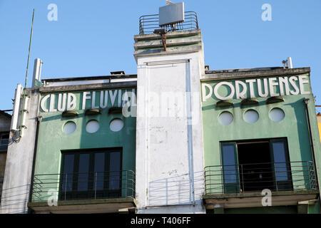 Exterior view of Club Fluvial Portuense building sign on Cais de Gaia, Vila Nova de Gaia in Porto, Portugal Europe EU  KATHY DEWITT - Stock Image