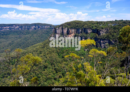 View of Jamison Valley and mountains from Lady Darley's lookout near Katoomba, Blue Mountains National Park, New South Wales, Australia. - Stock Image
