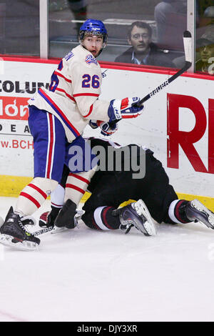 Nov. 20, 2010 - Vancouver, British Columbia, Canada - Pats #26 Dyson Stevenson got a penalty after hooking Giants - Stock Image