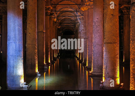The Basilica Cistern - underground water reservoir build by Emperor Justinianus in 6th century, Istanbul, Turkey - Stock Image