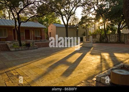 Plaza Juarez La Villita historic arts village san Antonio texas tx low afternoon light deserted plaza tourist attraction - Stock Image