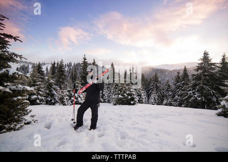 Skier standing on snowy mountain against sky - Stock Image