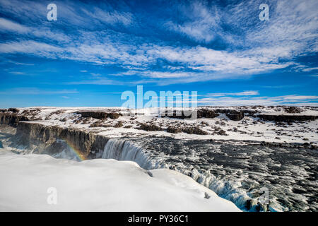 Dettifoss waterfall on the Jokulsa a Fjollum river in Northern Iceland, the most powerful fall in Europe. - Stock Image
