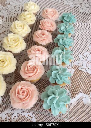 Flower cupcakes - Stock Image