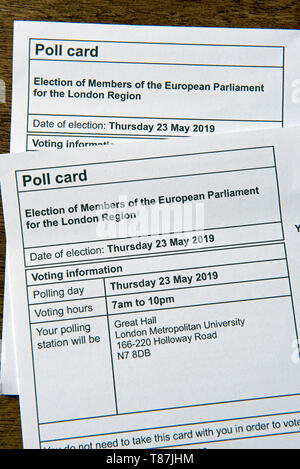 Pole Card for the European Parliament elections on 23rd May 2019, London Region UK - Stock Image