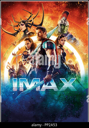 Prod DB © Marvel Studios - Walt Disney Studios Motion Pictures / DR THOR: RAGNAROK (THOR: RAGNAROK) de Taika Waititi 2017 USA visuel  avec Chris Hemsworth, Idris Elba, Cate Blanchett, Jeff Goldblum, Tom Hiddleston, Tessa Thompson, Anthony Hopkins suite, sequelle, fantastique, super heros, IMAX d'apres les personnages de Jack Kirby, Stan Lee, Larry Lieber - Stock Image