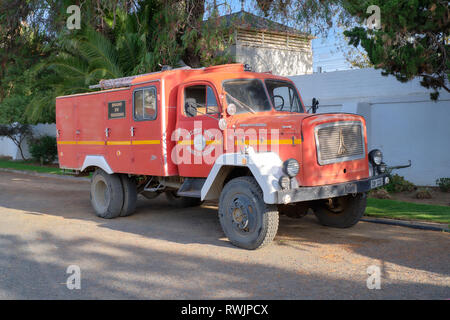 Vintage red fire truck part of the element of a visit of the village of Matjiesfontein, South Africa - February 20, 2019 - Stock Image