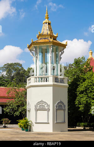Belfry or bell tower in the Silver Pagoda compound within the Royal Palace complex. Phnom Penh, Cambodia, southeast Asia - Stock Image