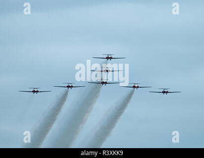 The 431 Air Demonstration Squadron of th Royal Canadian Airforce during a practice training day at their home base at - Stock Image