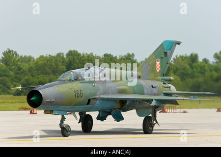 Croatian Air Force MiG-21 UMD '166' jet trainer - Stock Image