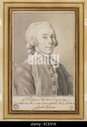 Portrait of Nicolas Michel Cury; Charles-Nicolas Cochin II, French, 1715 - 1790; 1785; Black chalk; 15.6 x 9.5 cm - Stock Image