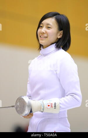 Ajinomoto National Training Center, Tokyo, Japan. 19th Apr, 2019. Haruna Baba (JPN), APRIL 19, 2019 - Fencing : Japan National Team Training Session at Ajinomoto National Training Center, Tokyo, Japan. Credit: Naoki Nishimura/AFLO SPORT/Alamy Live News - Stock Image