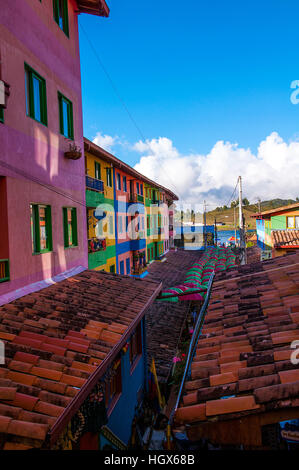 Colorful streets and decorated houses of Guatape city near Medellin, Antioquia, Colombia - Stock Image