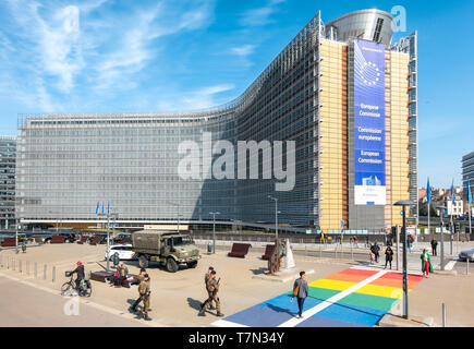 Brussels Berlaymont Building. Headquarters of the European Commission, EC, the executive of the European Union, EU. Brussel Bruxelles Belgium Europe - Stock Image