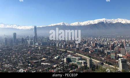 Santiago, Chile from Cerro San Cristobal - Stock Image