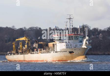 Hamburg, Germany, March 03, 2017, Hopper Dredger Vessel 'Francesco di Gorgio' , entering the Port of Hamburg. - Stock Image