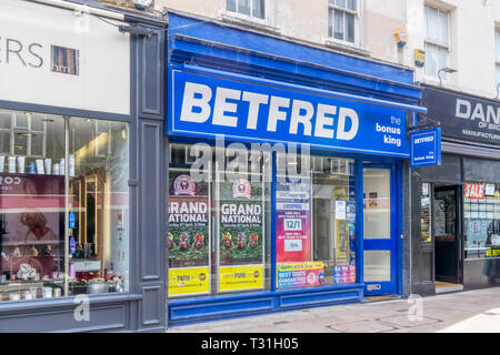 A branch of BetFred bookmakers in Bromley, South London. - Stock Image
