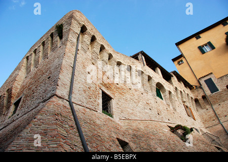 colorful house built on top of the historic walls of the beautiful hilltown of Jesi in Le Marche, Italy - Stock Image