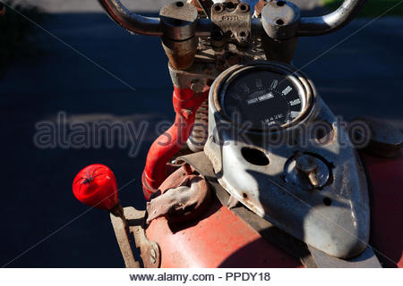 1942 Harley Davidson WLA 750 (42WLA) Motorcycle - 3 Speed Hand Operated Gears, foot clutch. Australian Redback Spider gear knob. - Stock Image