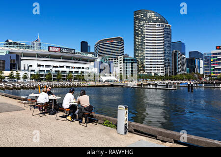 Marvel Stadium in Melbourne Docklands,Victoria Australia,was opened in March 2000.It is Australia's fourth largest soccer stadium by capacity at 53,35 - Stock Image