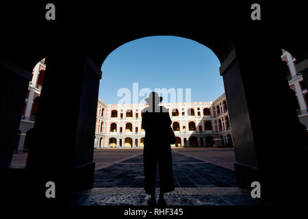 Entrance to the courtyard at the Museo des las Americas, Old San Juan, Puerto Rico - Stock Image