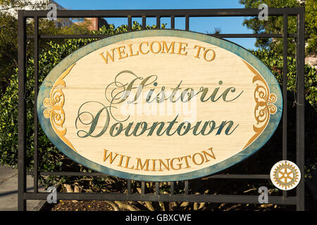 Welcome to historic downtown Wilmington sign, NC, USA - Stock Image