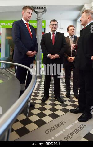 Czech Foreign Minister Tomas Petricek (left) meet with Lower Bavarian politician Heinrich Schmidt (right) on January 18, 2019, in Zelezna Ruda, Czech Republic. (CTK Photo/Miroslav Chaloupka) - Stock Image