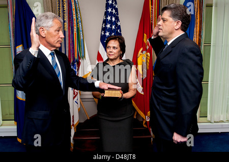 The new SECDEF is sworn in to office. - Stock Image