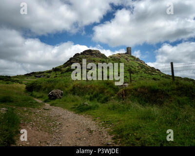 The Church of St Michel de Rupe ('Saint Michael of the Rock') atop Brent Tor on the western edge of Dartmoor National Park, Devon - Stock Image