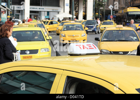Yellow taxis, Athens, Greece - Stock Image