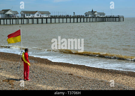 Lifeguard on the beach at Southwold Seaside Resort in Suffolk, UK - Stock Image