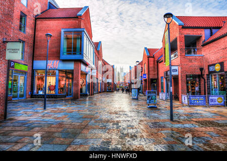 Beverley shopping centre Flemingate Beverley shops brands outdoor shopping area shops stores - Stock Image