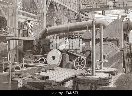 Penn's marine engine factory, Greenwich, London, England, 19th century.  The erecting shop.  From The Illustrated London News, published 1865. - Stock Image