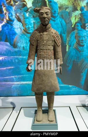 Liverpool William Brown Street World Museum China's First Emperor & The Terracotta Warriors Exhibition Light Infantryman Qin Dynasty - Stock Image
