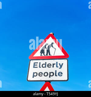 Elderly people road sign - Stock Image