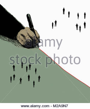 Hand drawing red dividing line separating groups of people - Stock Image