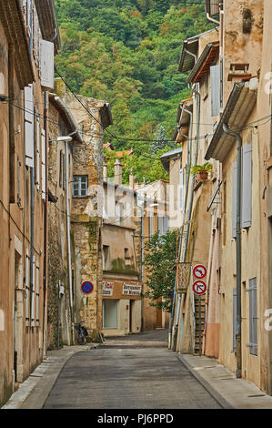 A street scene in a French village in the Rhone Valley - Stock Image