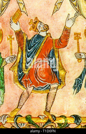 King Edgar the Peaceful (c.943 - 975), portrait  from the Charter of Edgar to the New Minster, Winchester, 966 - Stock Image