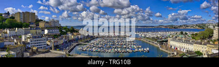 GB - DEVON: Panoramic view of Torquay harbour with Tor Bay in background - Stock Image