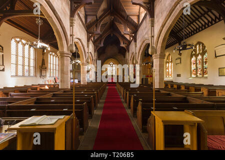 Saint Mary the Virgin Church Overton on Dee North Wales home of the Overton yew trees one of the seven wonders of Wales - Stock Image
