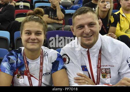 Baku, Azerbaijan. 24th Sep, 2018. Czech judokas L-R Alice Matejckova and Lukas Krpalek are seen during the World Judo Championships at National Gymnastics Arena in Baku, Azerbaijan, on September 24, 2018. Credit: David Svab/CTK Photo/Alamy Live News - Stock Image