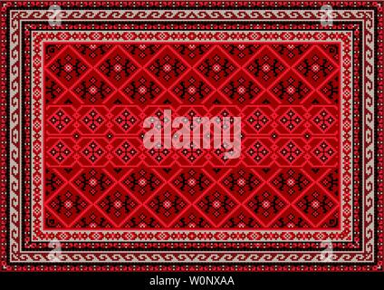 Luxury vintage oriental carpet in red shades with beige and black patterns - Stock Image